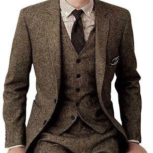 Other - Men's Tweed Slim Fit Formal Vintage 3 Pieces Suit
